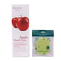 Kem dưỡng da tay chiết xuất Táo Hàn Quốc cao cấp 3W Clinic Apple Hand Cream (100ml) + Tặng Bông bọt biển massage mặt Hàn Quốc Mira Culous – Hàng Chính hãng