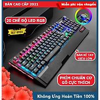 Bàn Phím Cơ Gaming CAO CẤP XSmart K1000 FULL LED RGB Có Kê Tay, Blue Switch Gõ Cực Đã Cho Laptop Máy Tính PC, Cổng USB - Hàng Chính Hãng