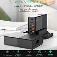 BlitzWolf BW-S16 75W 6 Ports Dual PD3.0 Dual QC3.0 USB Fast Charger Universal PD Charger