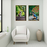 Bộ 2 tranh canvas phong cách màu nước (watercolor) - Mèo và Bói cá - WT003