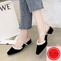 Giày hở gót đính ngọc, gót vuông 5cm, chất da lộn