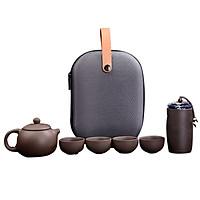 Bộ ấm bình trà đạo chất liệu sứ Cao Cấp có hũ đựng trà và khăn đi kèm có túi giảm sóc - Tặng kèm 1 dụng cụ gắp trà