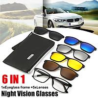 6 IN 1 Polarized Driving Day Night Vision Sunglasses Flip-up Lens Glasses UV400