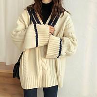 (Có sẵn) Áo len nữ thu đông cổ rộng áo len thừng xoắn phiên bản Hàn