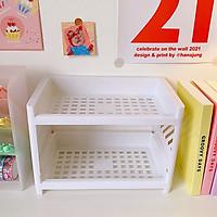 Kệ để đồ mini nhựa 2 tầng chắc chắn để bàn đựng đồ tiện lợi