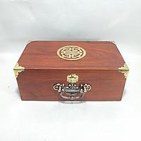 Hộp đựng đồ trang sức, con dấu gỗ hương mặt chữ thọ quai đồng - size 26