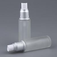 2Pcs Empty Refillable Container Pump Dispenser Lotion Serum Bottles - Frosted Transparent 30ml