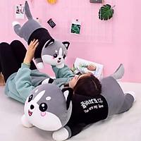 Gối ôm, Gấu bông mèo husky, Thú nhồi bông mèo husky đáng yêu siêu cute