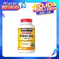 Thực phẩm bảo vệ sức khỏe Viên dầu cá Kirkland Signature Fish Oil 1000mg từ Mỹ, bổ sung Omega-3, DHA và EPA - 400 Viên
