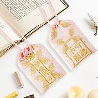 Túi gấm Omamori tình duyên hồng đối xứng có kèm túi chống nước Túi Phước May Mắn dây treo trang trí