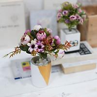 Hoa giả chậu hoa hồng cổ điển xinh xắn trang trí bàn văn phòng