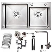 Combo bộ chậu rửa chén 2 hố cao cấp và vòi rửa bát 3 đường nước RN46705