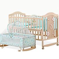 Full set giường cũi gỗ cho bé gồm cũi , nôi , màn , bộ quây cũi , chăn bông gòn