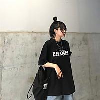 Áo thun tay lỡ nữ freesize phông form rộng dáng Unisex - Champs, áo phông form rộng