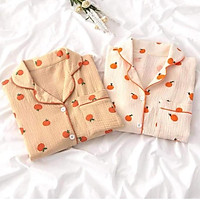 Bộ ngủ pijama hoạt hình quả táo + quần dài ullazang hot hit