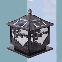 Đèn trụ cột năng lượng mặt trời hình cây tùng màu đen, trang trí hàng rào, sân vườn, chịu mưa nắng, thiết kế tinh xảo mang đậm chất cổ điển, tiết kiệm điện, tối ưu hóa cuộc sống xanh HT629