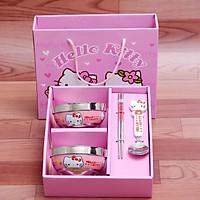 Bộ đồ ăn inox cao cấp Hello Kitty hộp giấy kèm túi Combo 4 món