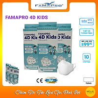 [CHÍNH HÃNG] Khẩu Trang Y Tế 3 Lớp Famapro 4D Kids/Dành Cho Trẻ Em Từ 4-10 Tuổi/Kháng Khuẩn 99%/Hộp 10 Cái
