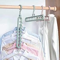 Combo 10 móc treo quần áo đa năng 9 lỗ tiện dụng tiết kiệm diện tích tủ quần áo, sắp xếp tủ quần áo gọn gàng, dễ tìm kiếm, dễ lấy