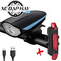 COMBO Đèn Còi Xe Đạp 7588 Và Đèn Hậu Sạc USB BS216