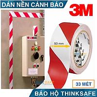 Băng keo dán nền cảnh báo 3M 767 sọc trắng đỏ, phân chia lối đi, cảnh báo nguy hiểm, keo dán chắc chắn bền màu ( 50mmX32.9m)
