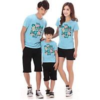 Combo 3 bộ đồ gia đình quần đen áo xanh  in họa tiết Happy summer Time xinh xắn  thời trang chất thun đẹp