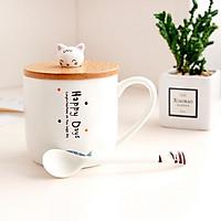 Ly cốc sứ dùng uống trà cà phê có kèm nắp hình cá mèo mẫu ngâu nhiên