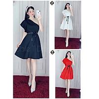 Đầm dự tiệc lệch vai kèm đai eo y hình TRIPBLE T DRESS - size M/L/XL ( ảnh/video thật) MS154V