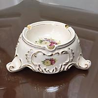 Lư gạt thuốc phong cách Châu Âu tân cổ điển nhập khẩu cao cấp họa tiết hoa mẫu đơn  chất liệu sứ