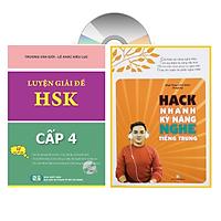 Combo 2 sách Luyện giải đề thi HSK cấp 4 có mp3 nge +Hack nhanh kỹ năng nghe tiếng Trung+DVD tài liệu