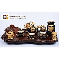 Bộ trà Bát Tràng họa tiết kỳ lân bọc đồng dát vàng