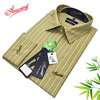 Áo sơ mi nam Amazing kẻ sọc đứng, dài tay, phong cách công sở thanh nhã, form xuông, thân rộng, vải Bamboo