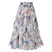 DASSWEI Fashion Summer Chiffon Floral Printed Skirt For Women Casual Elastic High Waist Mid Calf Skirts Female A-Line Midi Skirt