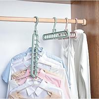 Móc treo quần áo đa năng 9 lỗ - màu ngẫu nhiên