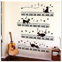 Decal dán tường mèo tinh nghịch đàn piano dễ thương sang trọng
