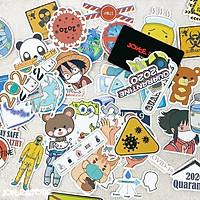 Bộ 50 Sticker (nhãn dán) CHỐNG DỊC.H ĐEO KHẨU TRANG - siêu chất, cool ngầu, dễ thương.
