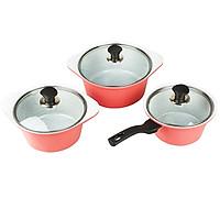 Bộ 3 nồi quánh đúc Ceramic chống dính 5 lớp, đáy từ Greencook GCS02-18IH size 18cm / GCS02-20IH size 20cm / GCS02-24IH size 24cm