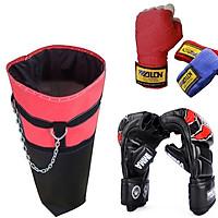 Combo vỏ bao trụ cát tập đấm bốc boxing, mma, muay + Găng đấm bốc mma figher hở ngón + Băng Đa cuốn tay