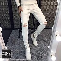 Quần jean dài nam, quần bò nam màu trắng trẻ trung phong cách dễ phối đồ