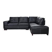 Sofa Da Chữ L Juno Carol/L Plus 265 x 208 x 87 cm (Đen)