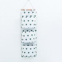 Túi vải treo tường 3 ngăn tiện dụng có kèm thanh gỗ treo