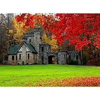 Tranh ghép hình 1000 mảnh 2cm khổ 54×74 – Tranh xếp hình Puzzle cao cấp Castle in Autumn – Lâu đài vào mùa thu