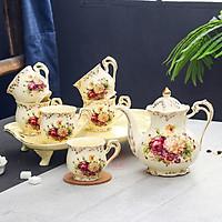 Bộ cốc chén sứ xương cao cấp - Bộ tách trà họa tiết hoa hoa hồng viền vàng mới nhất 2021