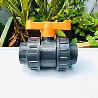 Van cầu rắc co phi 49mm cao cấp Automat hai đầu ren trong nhựa PVC cao cấp tay gạt màu cam chống tia UV được sản xuất từ Ấn Độ