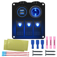 3 Gang Waterproof Marine Boat Rocker Switch Panel with Blue/Red/Green LED Backlight 4.8V Dual USB Charger+Power Supply