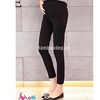 quần legging bầu 2 túi trước vải zip cotton xinh xắn