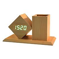 Đồng hồ LED để bàn đo nhiệt độ kiêm giá đựng bút đa năng GB-DHG02