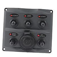 Boat Marine RV 5 Gang Led Toggle Switch Panel 15A In-line Fuse Power Socket