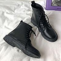 Giày Boot Nữ Thời Trang Màu Đen Chất Da Không Bong Tróc - S379