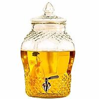 Bình ngâm rươu thủy tinh kim cương 8833 tặng 12 ly rượu bầu có van hay không van